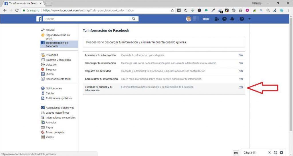 Como eliminar una cuenta de Facebook analisis