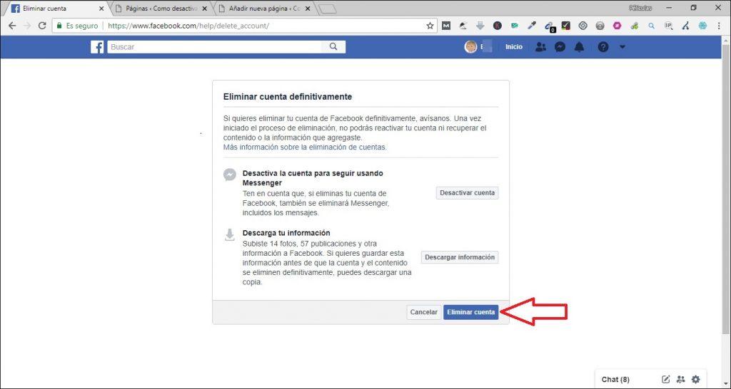 Como eliminar una cuenta de Facebook youtube