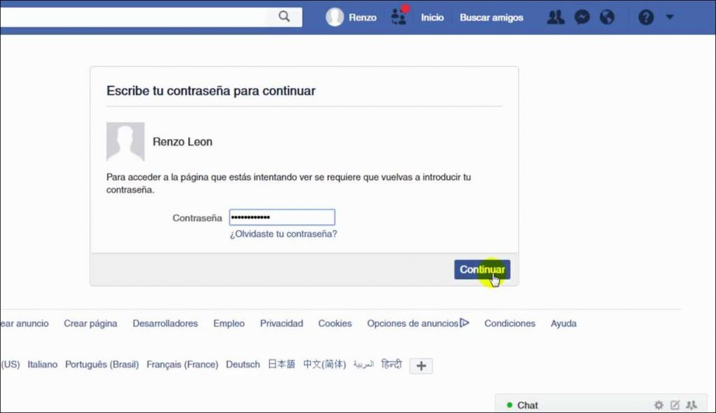 Como Desactivar el Facebook admisnistrar