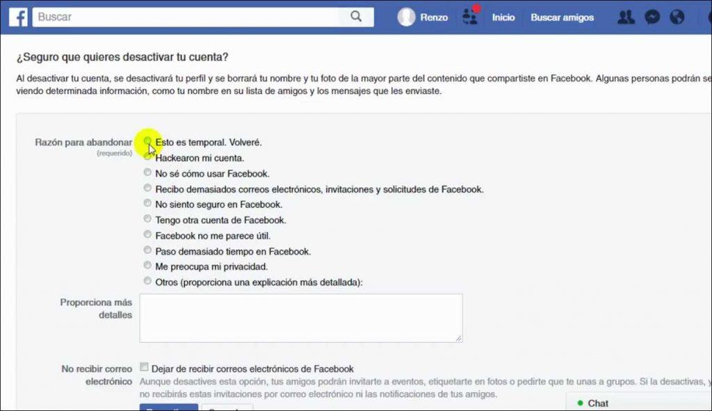 Como Desactivar el Facebook twiter