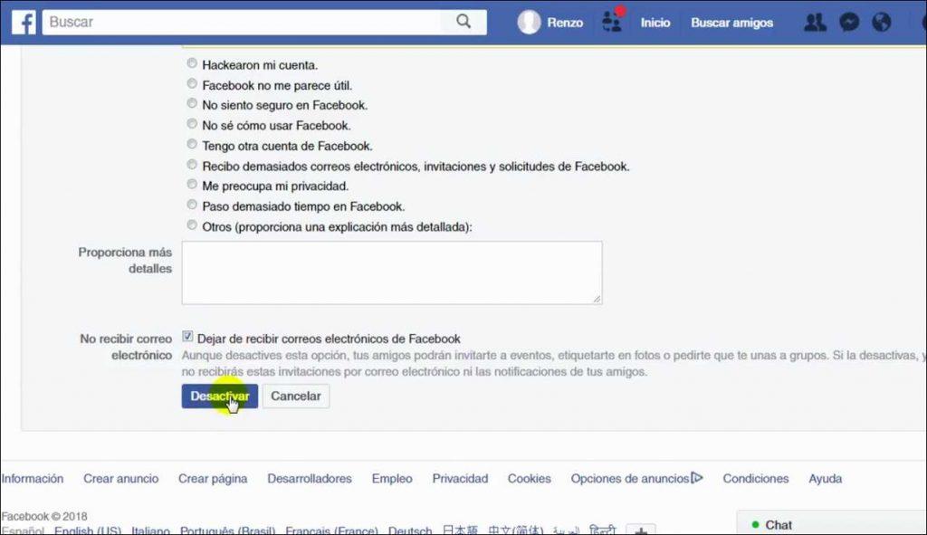 Como Desactivar el Facebook cookies