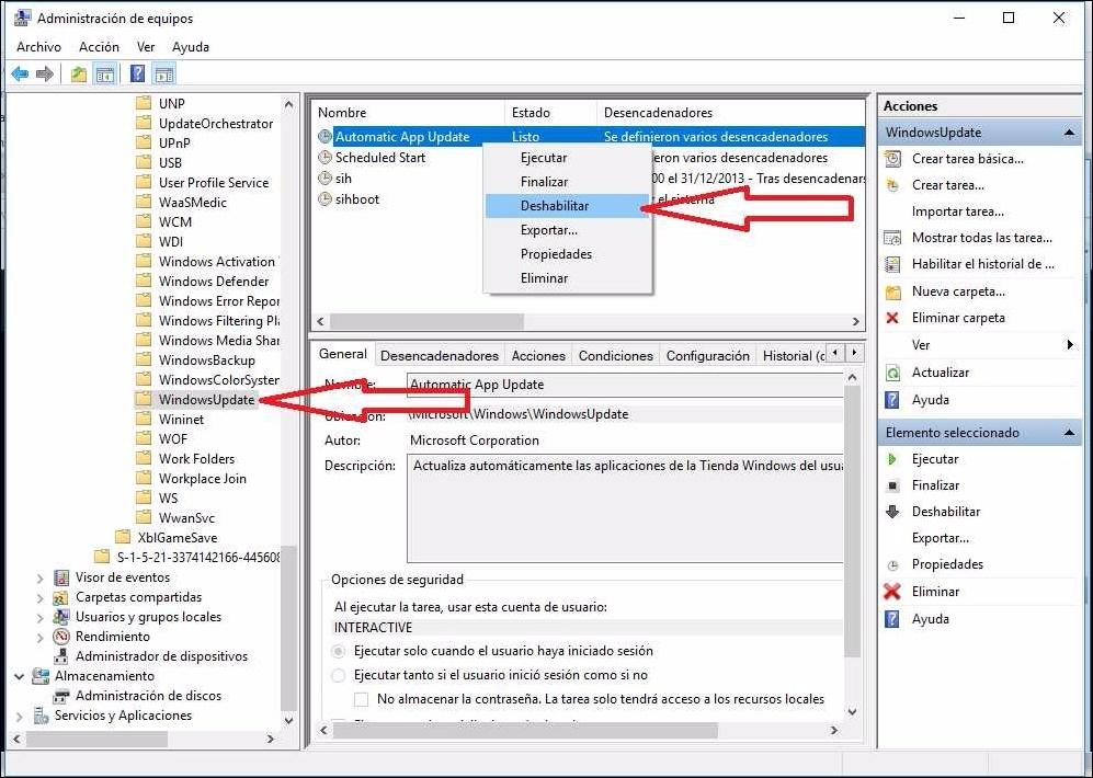 como desactivar windows update disco duro