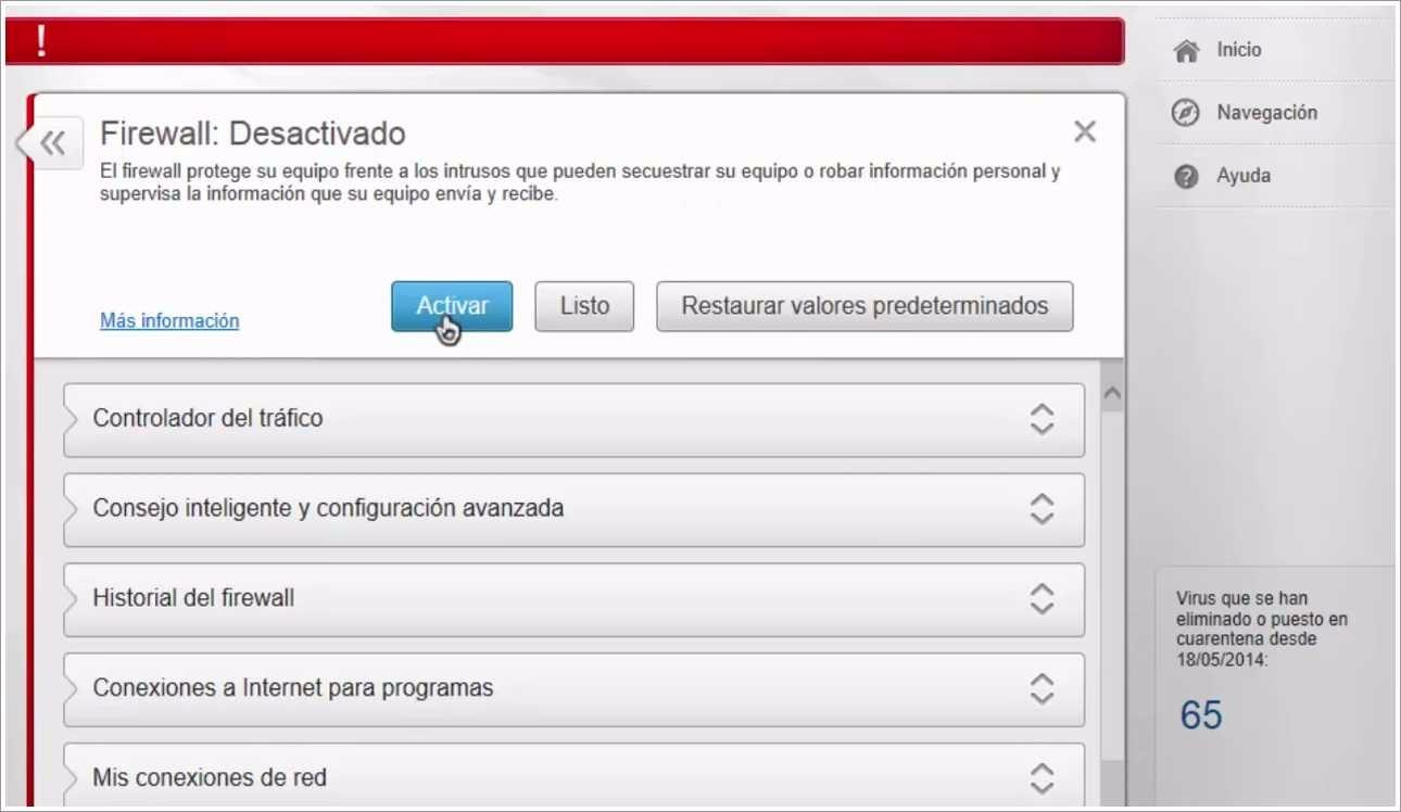Desactivar el firewall de McAfee
