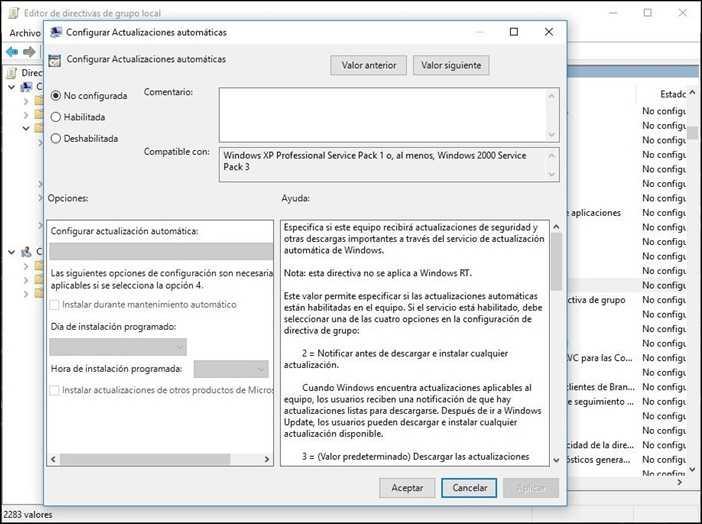 deshabilitar windows update