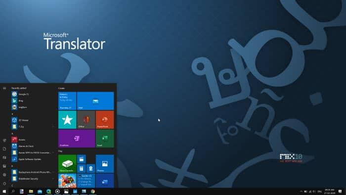 usando el menú de inicio sin el cuadro de búsqueda en Windows 10