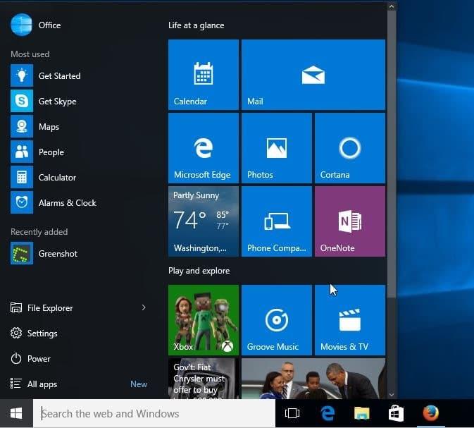 Diferencia entre el menú de inicio redimensionable de Windows 10 y Windows 8.1