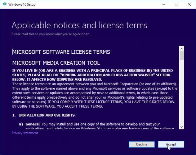 Acuerdo de licencia de la herramienta de creación de medios de Windows 10