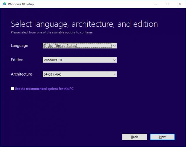 Seleccione la arquitectura del idioma y la edición de la configuración de Windows 10