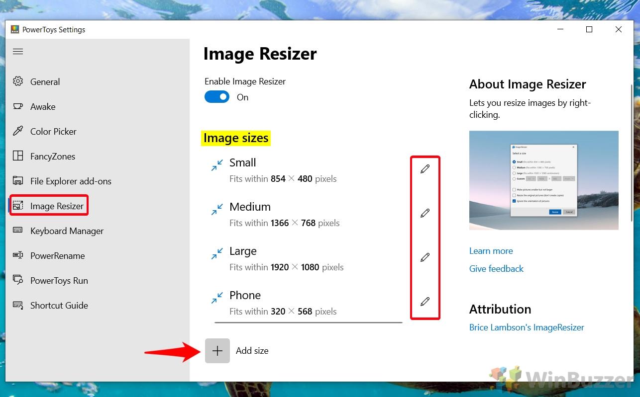 Windows 10 - PowerToys - Cambiar tamaño de imagen - Tamaño de imagen - Seleccionar o personalizar