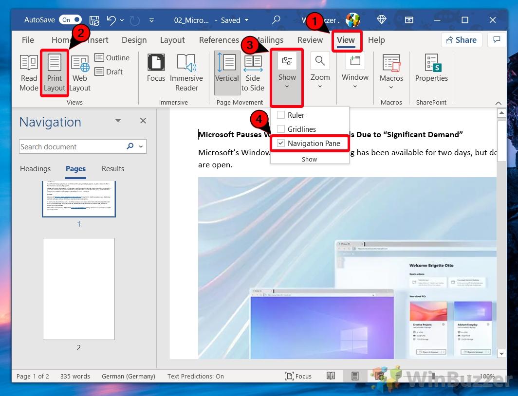 Windows 10 - Word - Ver - Diseño de impresión - Comprobar panel de navegación