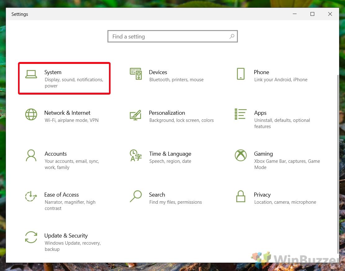 Windows 10 - Configuración - Sistema abierto