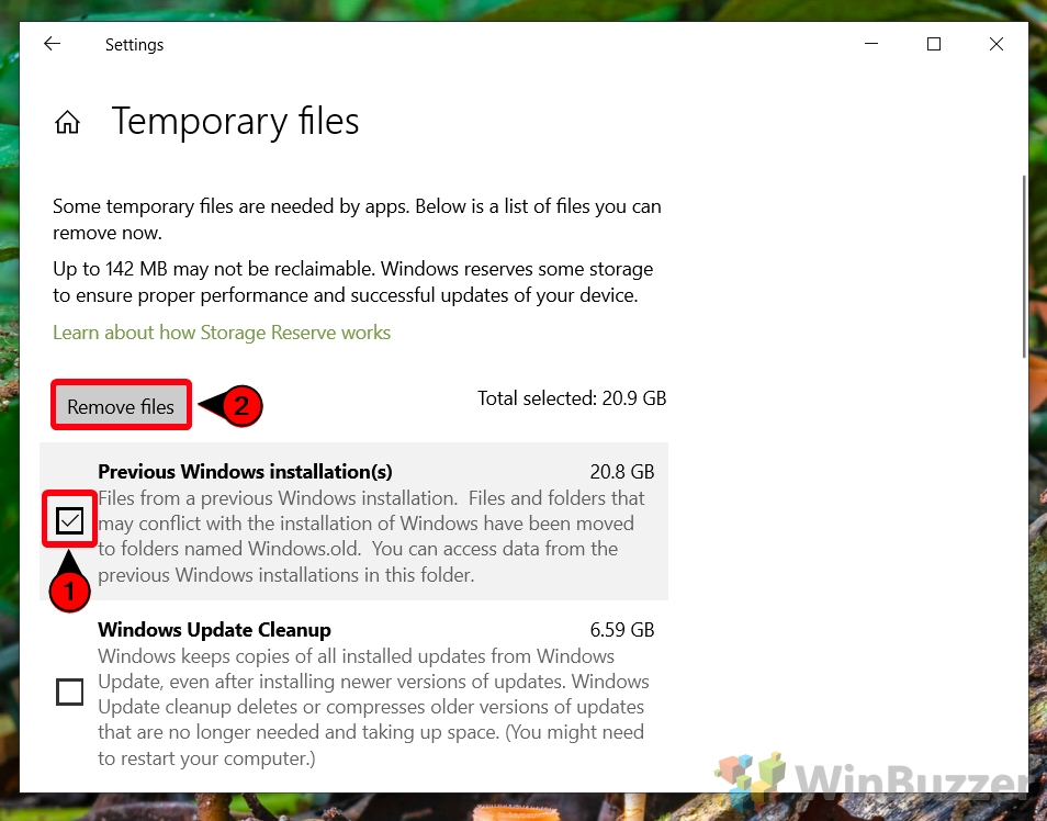 Windows 10 - Configuración - Sistema - Almacenamiento - Archivos temporales - Verifique la instalación anterior de Windows - Eliminar archivos