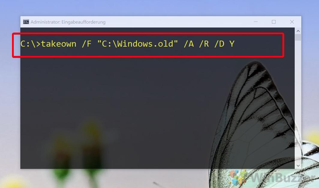 Administrador de CMD de Windows 10 - takeown