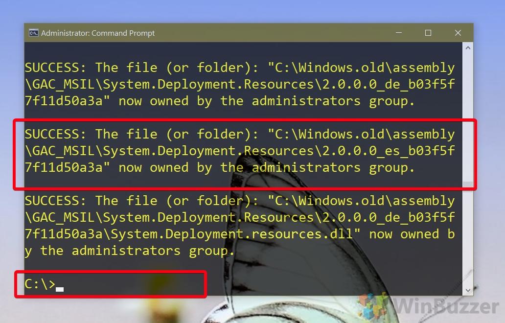 Administrador de Windows 10 CMD - takeown - terminado