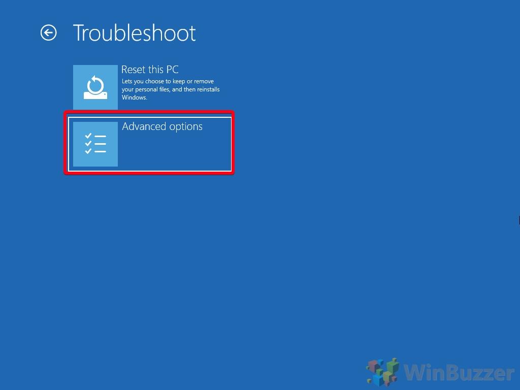 Windows 10 - Opciones de inicio avanzadas - Solucionar problemas - Abrir opciones avanzadas