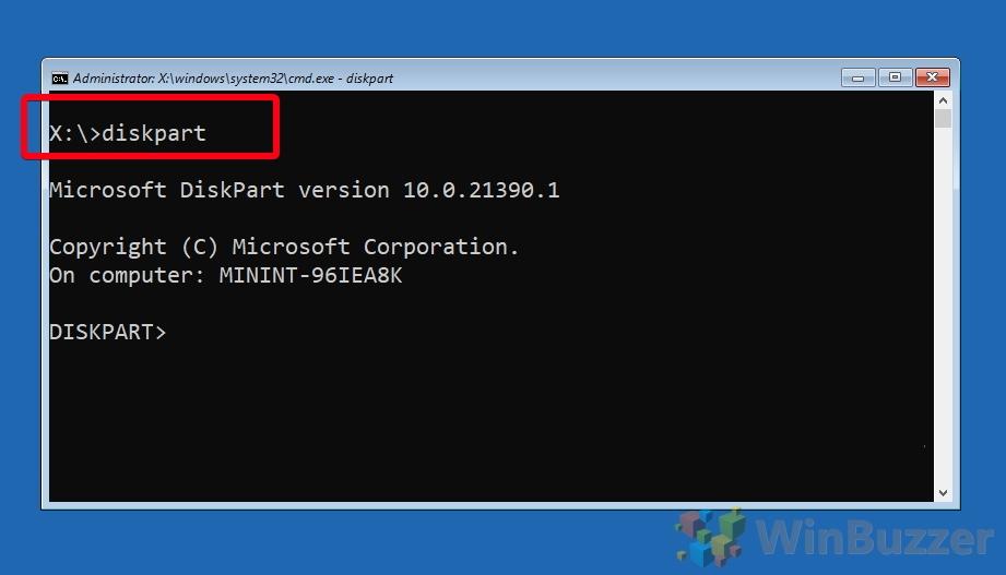 Windows 10 - Opciones de inicio avanzadas - Símbolo del sistema - Escriba y escriba Diskpart