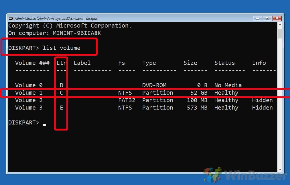 Windows 10 - Opciones de inicio avanzadas - Símbolo del sistema - Diskpart - Escriba e ingrese el volumen de la lista - Verifique la letra de la unidad
