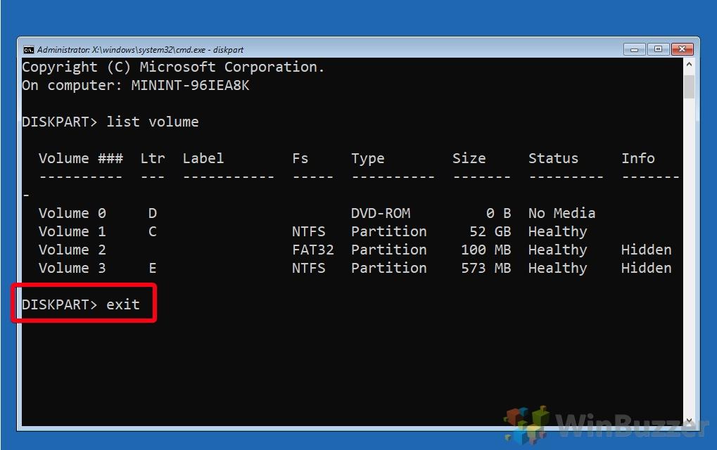 Windows 10 - Opciones de inicio avanzadas - Símbolo del sistema - Diskpart - Volumen de lista - Letra de unidad - Escriba Salir