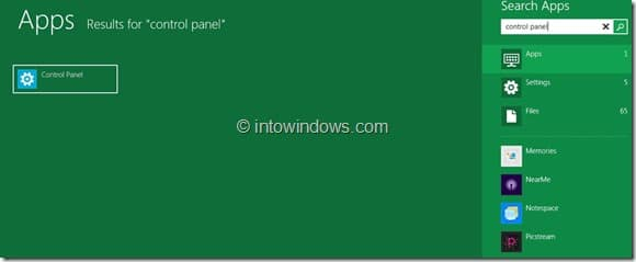 Restaurar el mosaico del panel de control en la imagen de la pantalla de inicio