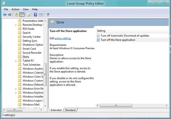 Deshabilitar o apagar la tienda de Windows Step2