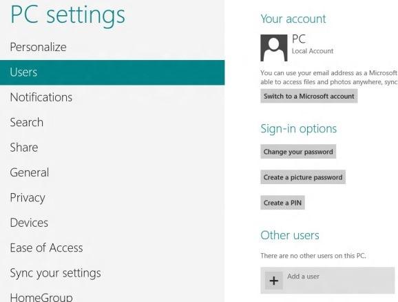 Crear cuenta de usuario en Windows 8