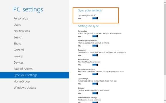 Configuración de sincronización en Windows 8