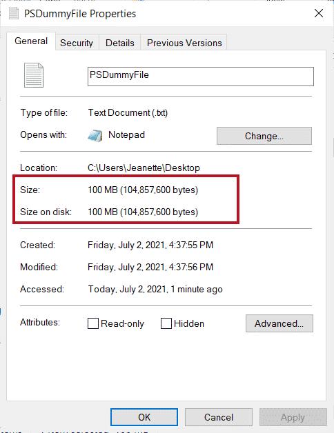 Propiedades del archivo vacío