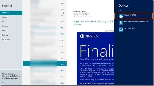 Hacer una impresión en la imagen de la aplicación de correo de Windows 8