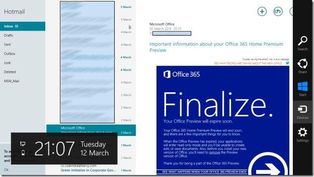 Realizar impresión en la aplicación de correo de Windows 8