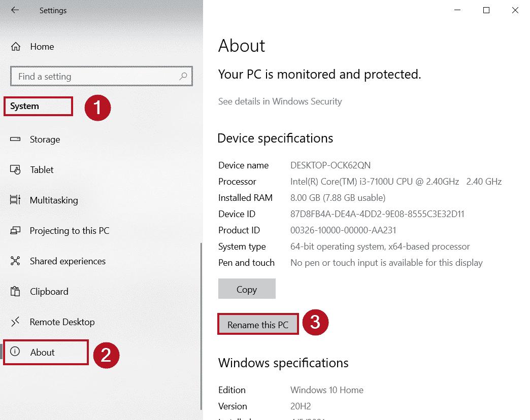 Cambiar nombre de PC