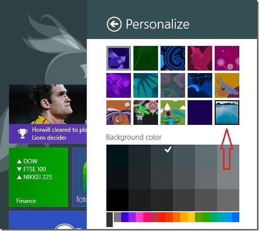 Establecer el fondo de pantalla del escritorio como fondo de la pantalla de inicio Windows 81 Step6