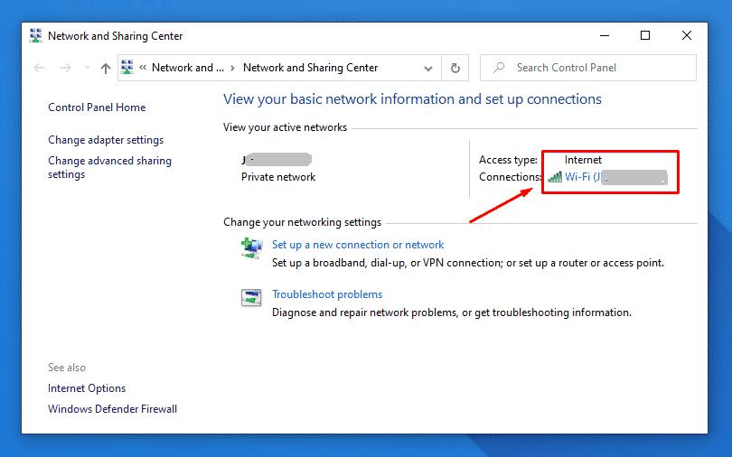Haga clic en Conexión Wifi actual