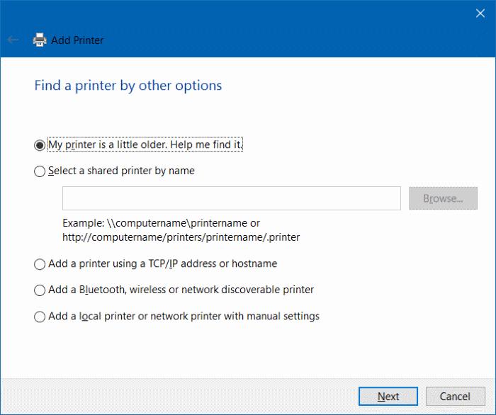 agregar una impresora a Windows 10 paso 5