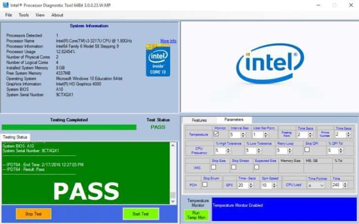 Herramienta de diagnóstico del procesador Intel
