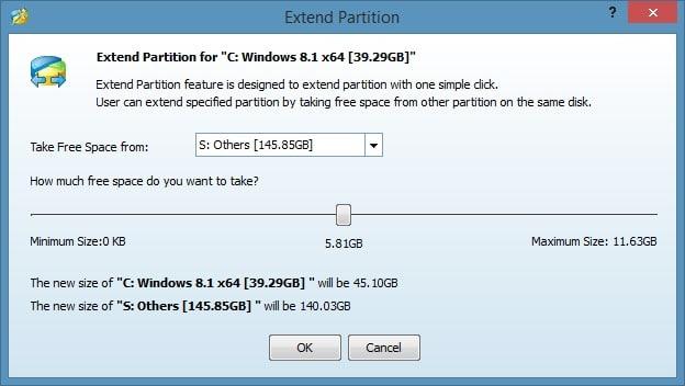 Amplíe la partición del sistema en Windows 8.1 Método 2 Paso 4