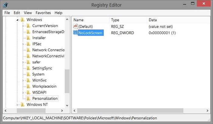 Eliminar la pantalla de bloqueo de Windows 8.1 usando el Registro Step4