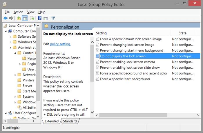 Eliminar la pantalla de bloqueo de Windows 8.1 usando el Registro Step6