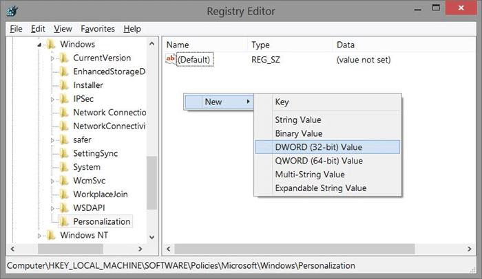 Eliminar la pantalla de bloqueo de Windows 8.1 usando el Registro Step3