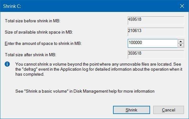 Reducir el volumen o la partición en Windows 10 (3)