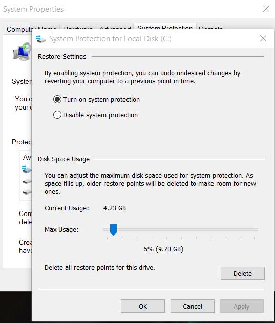 El sistema de Windows restaura la caché
