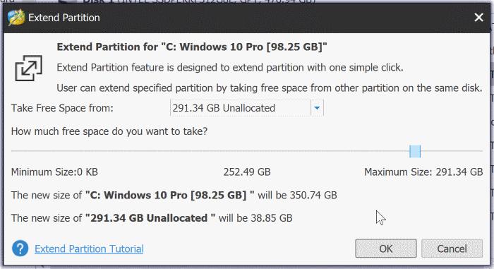 extender la partición atenuada en Windows 10 pic3
