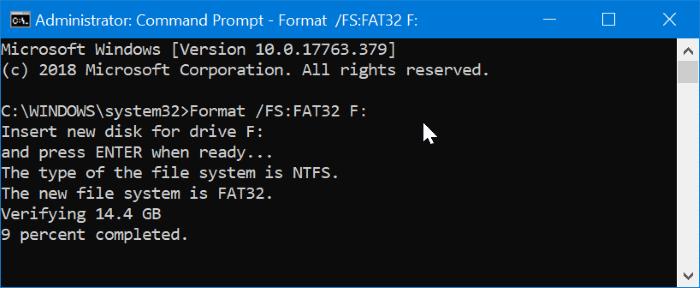 formatee la unidad USB externa a FAT32 en Windows 10 pic02