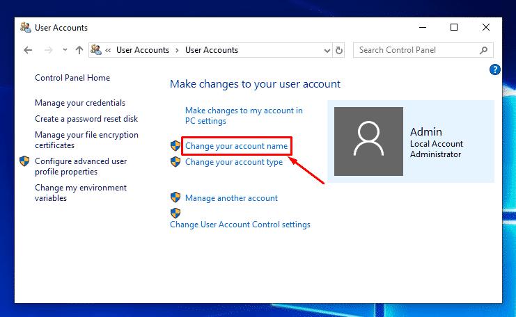 Cambiar el nombre de la cuenta de usuario