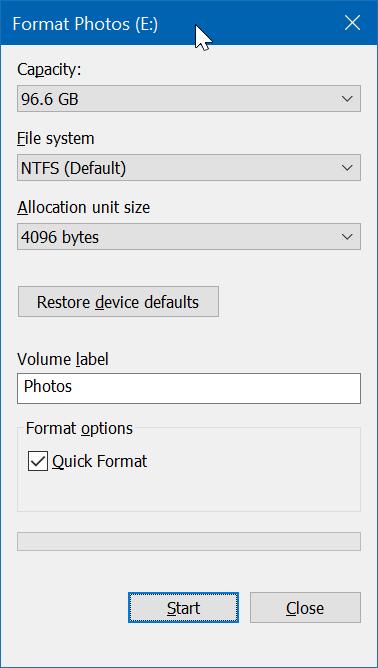 formatear unidades o particiones en Windows 10 pic2