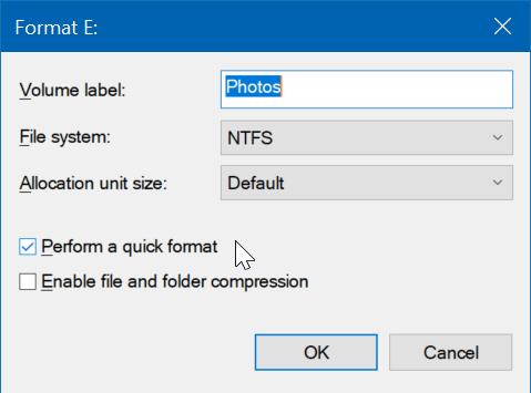 formatear unidades o particiones en Windows 10 pic5