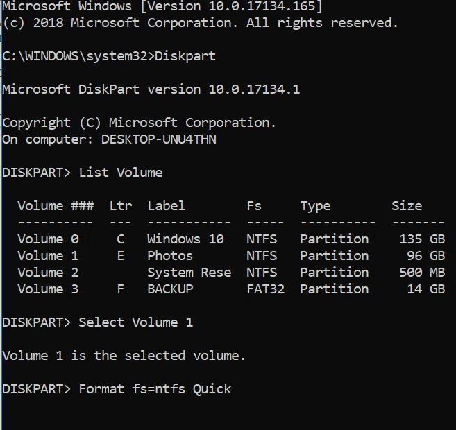 formatear unidades o particiones en Windows 10 pic6