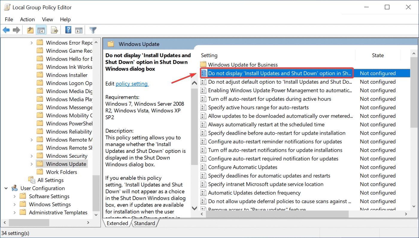 No muestra la opción 'Instalar actualizaciones y apagar' en el cuadro de diálogo Apagar Windows