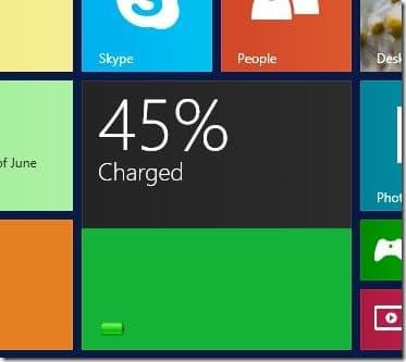 Mosaico de nivel de batería para la pantalla de inicio de Windows 8.1