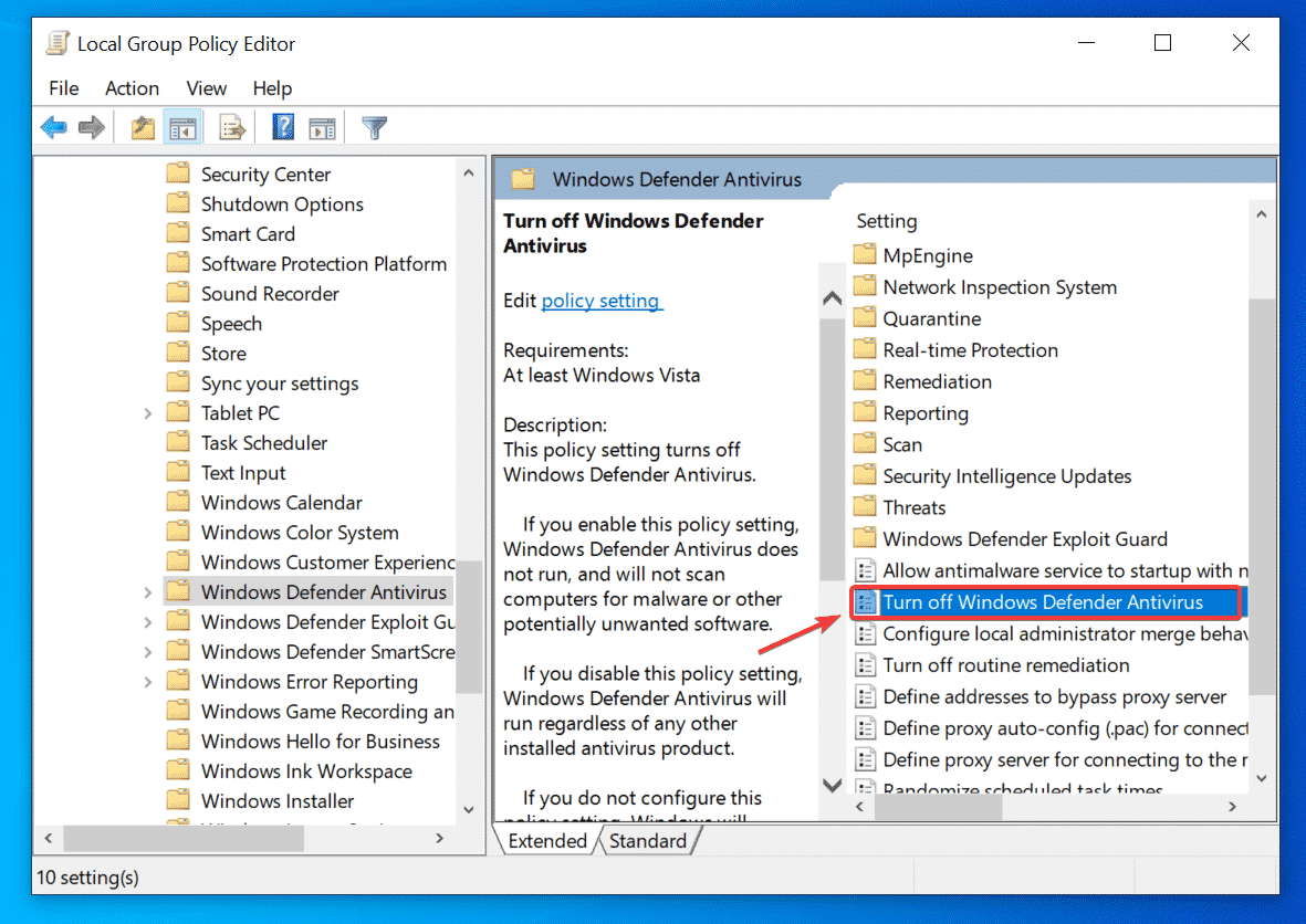 Apague el antivirus de Windows Defender