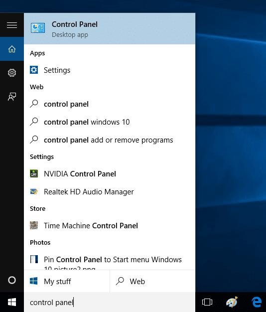 Fijar el panel de control al menú Inicio de la imagen de Windows 10